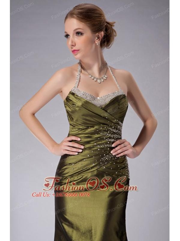 Beauty Olive Green Column Halter Mother Of The Bride Dress Ankle-length Taffeta Beading
