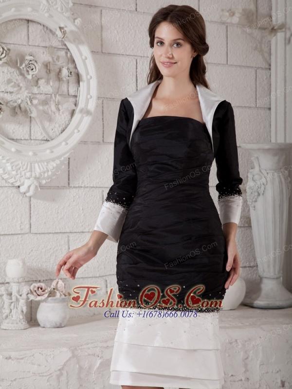 Custom Made White and Black Mother of the Bride Dress Column Strapless Beading Knee-length Taffeta