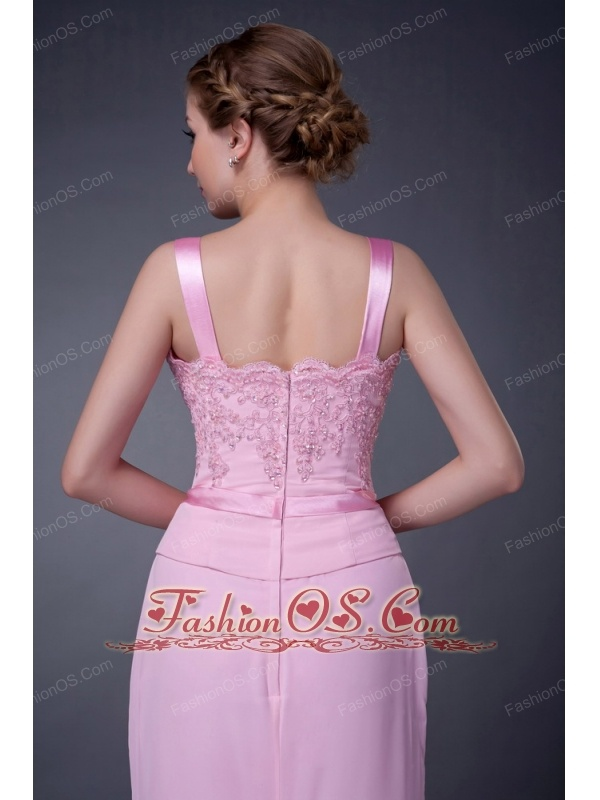 Customize Baby Pink Column Straps Mother Of The Bride Dress Chiffon Beading Floor-length