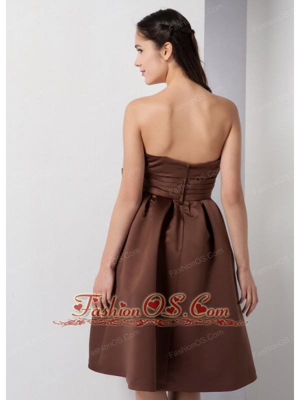 Customize Brown A-line Strapless Bow Bridesmaid Dress Knee-length Satin
