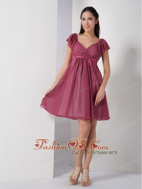 Customize Burgundy A-line V-neck Bridesmaid Dress Chiffon Ruch Knee-length