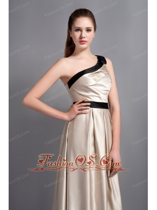 Customize Champagne One Shoulder Bridesmaid Dress with Black Belt