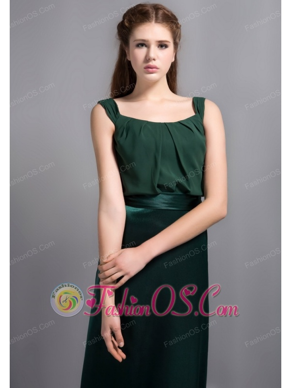 Customize Hunter Green Square Neck Bridesmaid Dress