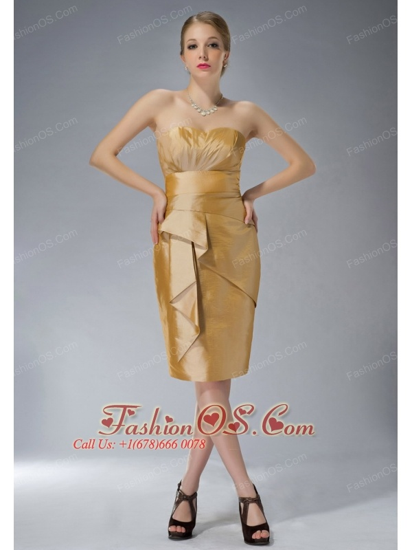 Customize Yellow Column Sweetheart Mother Of The Bride Dress Knee-length Taffeta Ruch