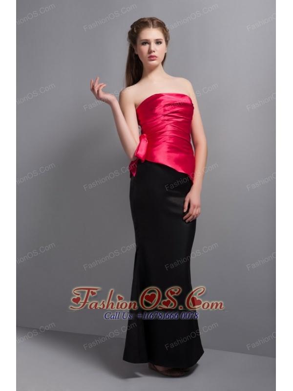 Elegant Hot Pink and Black  Floor-length Bridesmaid Dress Strapless