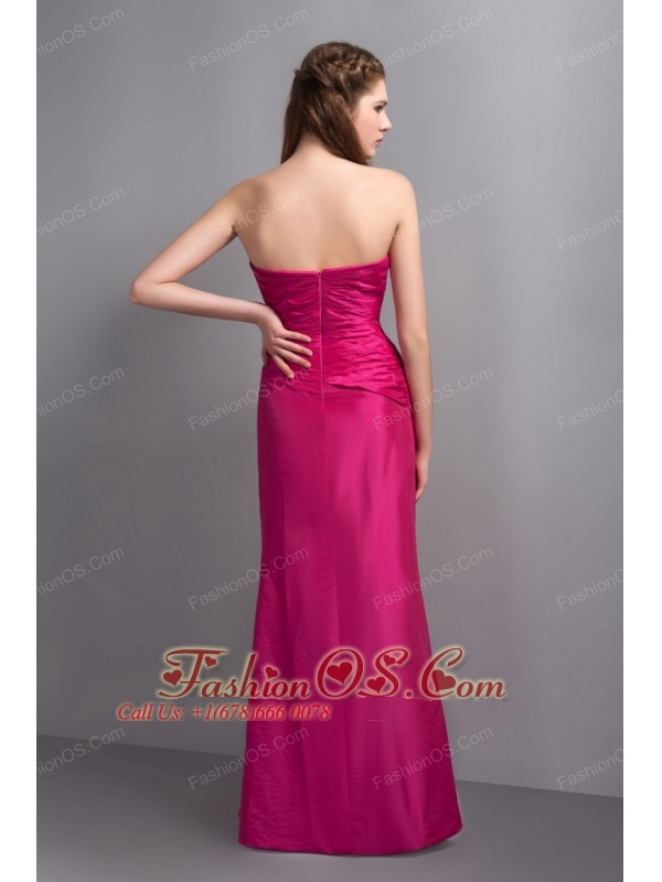 Elegant Hot Pink V-neck Bridesmaid Dress with Beading