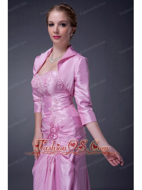 Exclusive Baby Pink Column Strapless Mother Of The Bride Dress Taffeta Appliques Floor-length