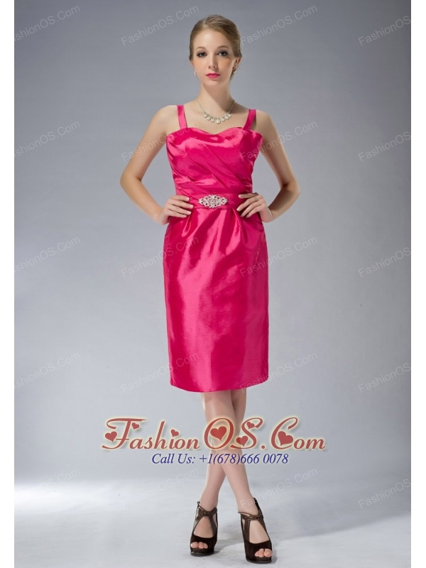 Exclusive Coral Red Column Straps Knee-length Taffeta Beading Mother Of The Bride Dress
