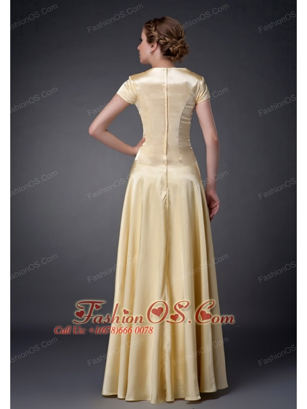 Fashionable Light Yellow Empire Scoop Neckline Mother Of The Bride Dress Beading Floor-length