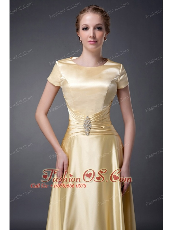 Fashionable Light Yellow Empire Scoop Neckline Mother Of