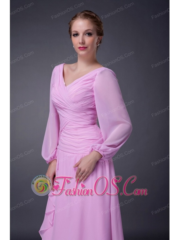 Lovely Baby Pink Empire V-neck Mother Of The Bride Dress Tea-length Chiffon Ruch