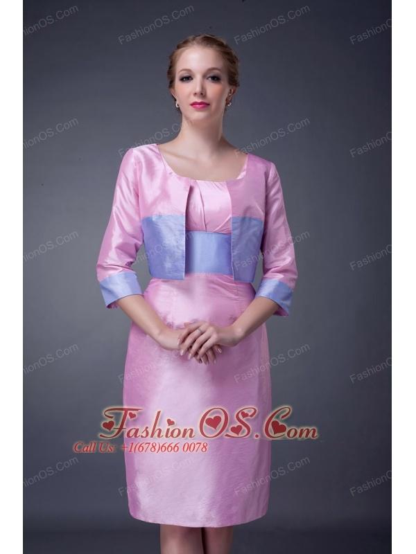 Modest Baby Pink Column Scoop Mother Of The Bride Dress Knee-length Taffeta Sash