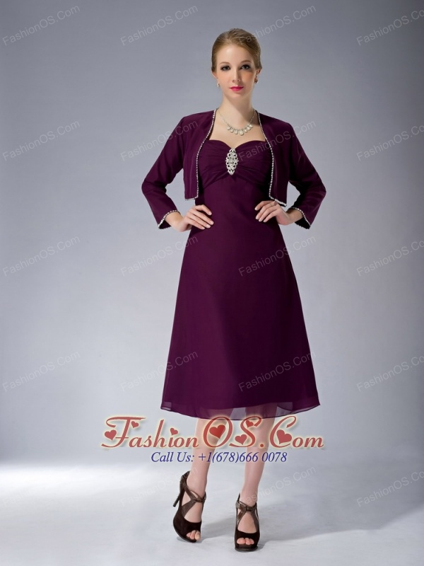 Modest Dark Blue A-line Straps Mother Of The Bride Dress Knee-length Chiffon Beading