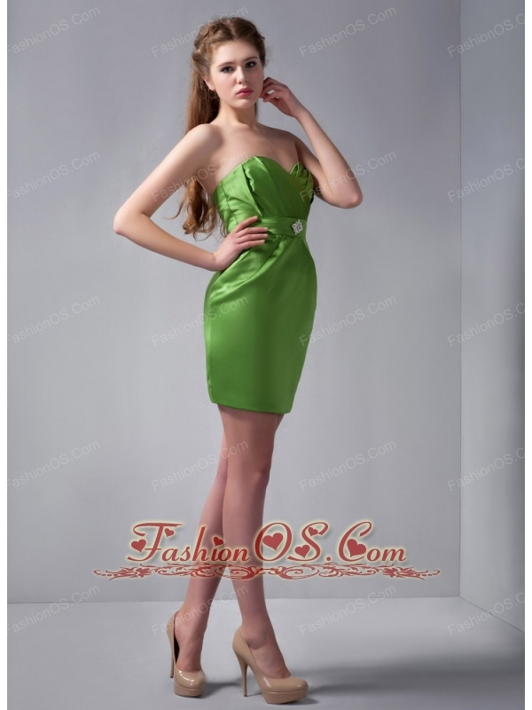 New Spring Green Column Sweetheart Beading Bridesmaid Dress Mini-length Satin