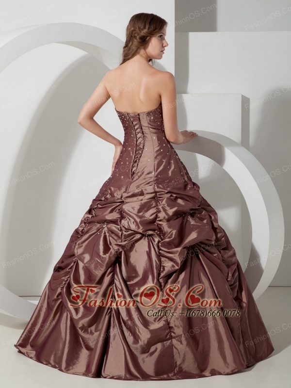 Popular Brown Pick-ups Quinceanera Dress Strapless Taffeta Beading