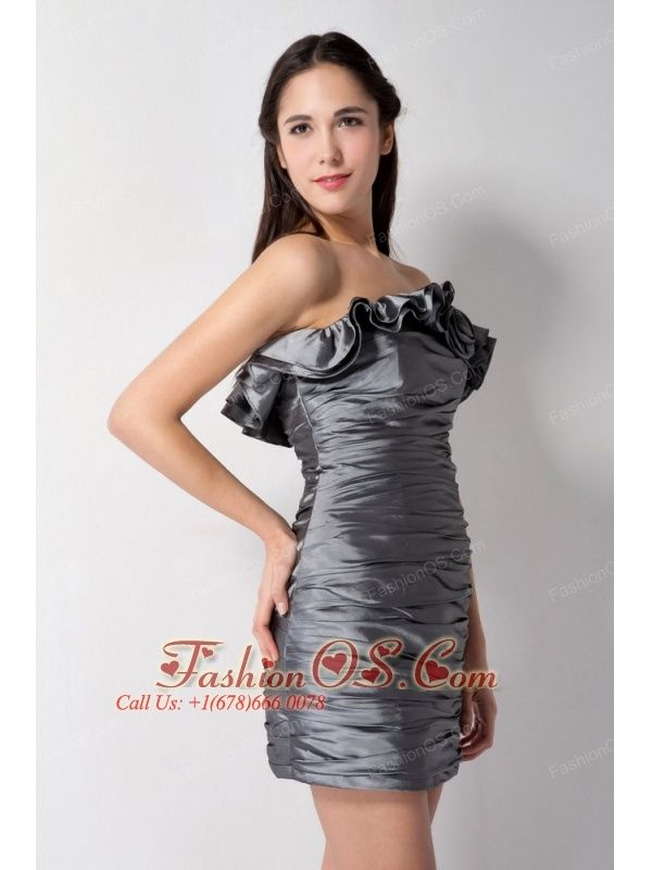 Popular Grey Column Strapless Bridesmaid Dress Mini-length Taffeta Ruch