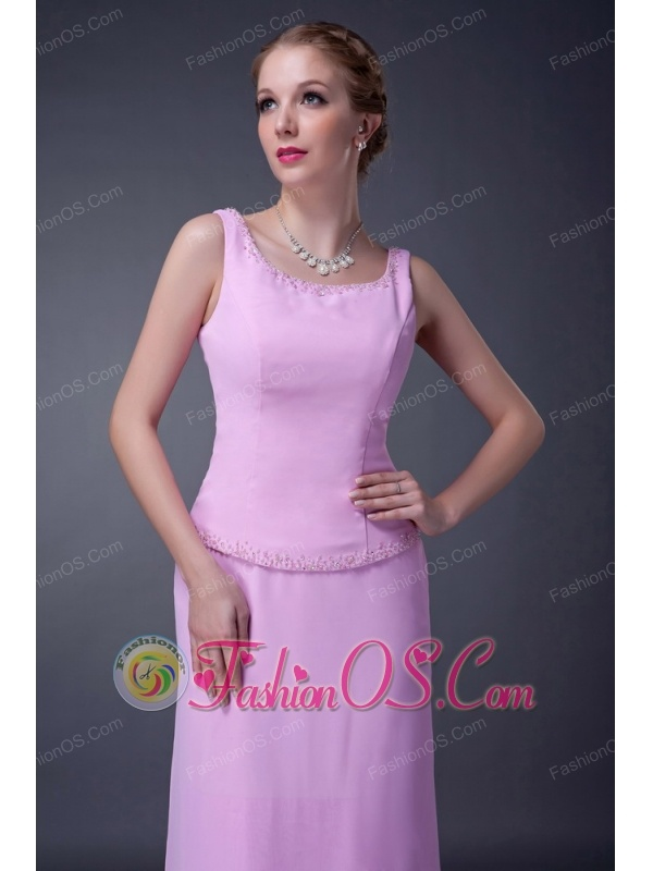 Sweet Baby Pink Column Scoop Mother Of The Bride Dress Ankle-length Chiffon Beading