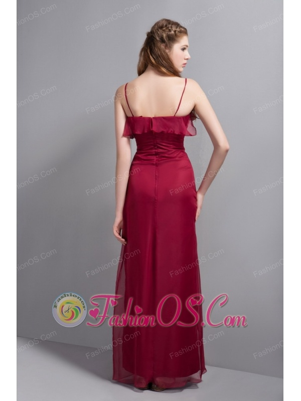 Wine Red Chiffon Bridesmaid Dress with Straps