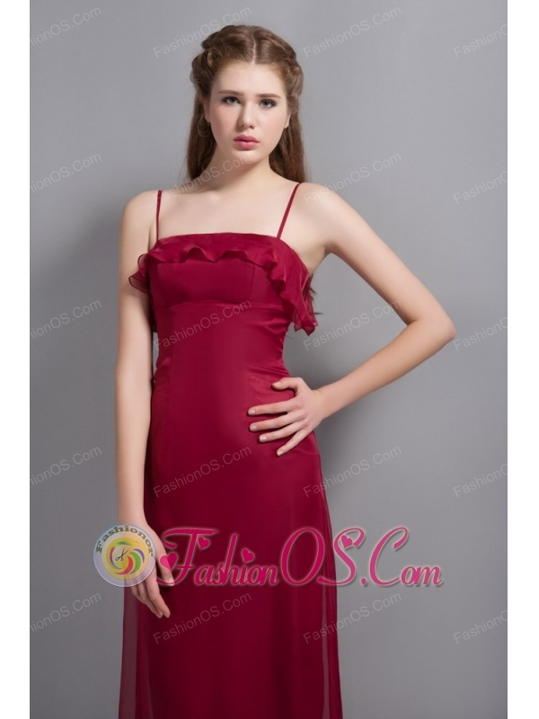Wine Red Chiffon Bridesmaid Dress with Straps