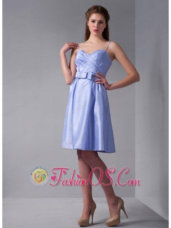 Simple Lilac Column Straps Ruch Bridesmaid Dress Knee-length Taffeta