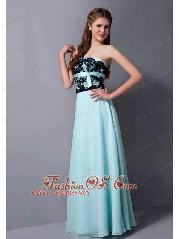 Beautiful Light Blue Chiffon Bridesmaid Dress with Black Lace