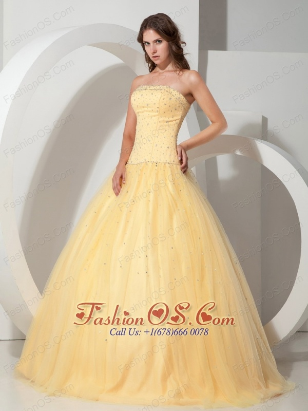 Custom Made Light Yellow Quinceanera Dress Strapless Beading