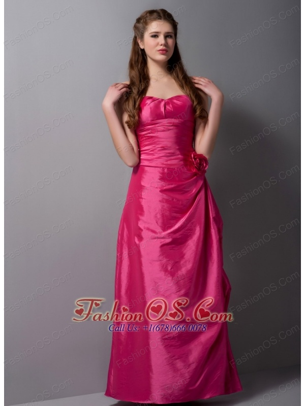 Customize Coral Red Column Sweetheart Hand Made Flowers Bridesmaid Dress Ankle-length Taffeta
