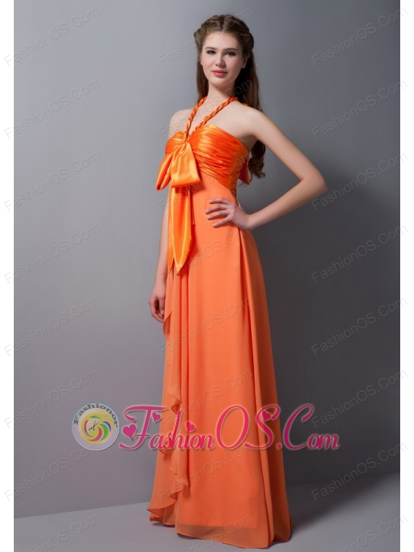 Customize Orange Red Empire Halter Ruch Bridesmaid Dress Floor-length Taffeta and Chiffon