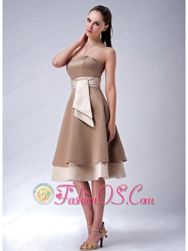 Brand New Brown Empire Strapless Bridesmaid Dress Sash Tea-length Satin