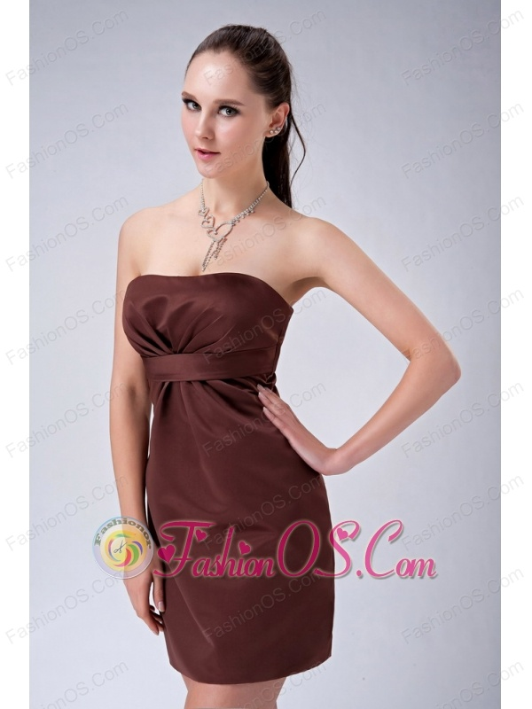 Custom Made Brown Column Strapless Bridesmaid Dress Ruch Mini-length Satin
