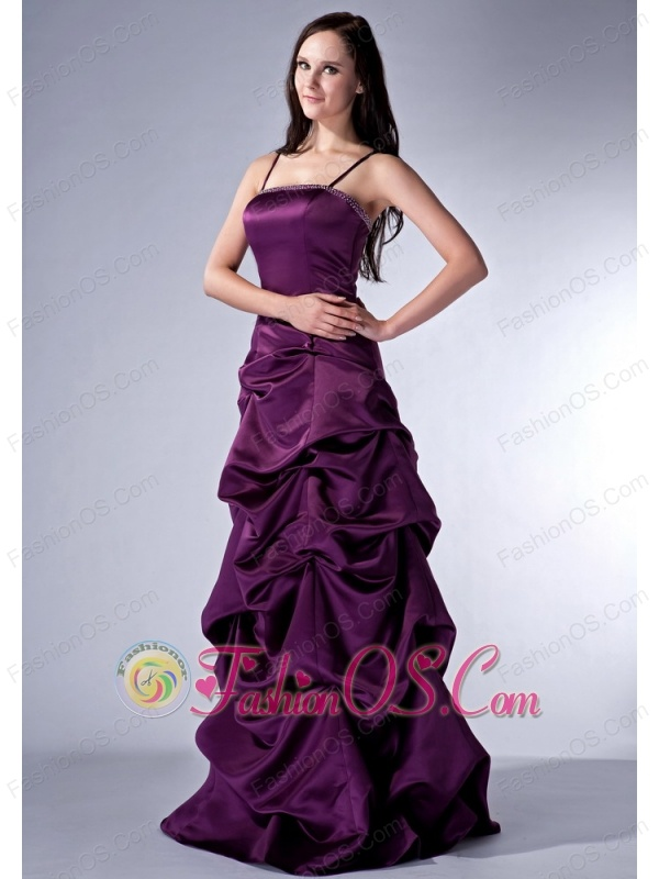 Custom Made Dark Purple Cloumn Spaghetti Straps Bridesmaid Dress Satin Beading Floor-length