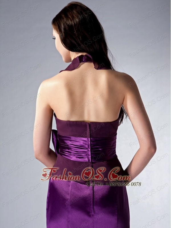 Custom Made Eggplant Purple Cloumn Halter Bridesmaid Dress Bow Brush Train Elastic Woven Satin and Chiffon