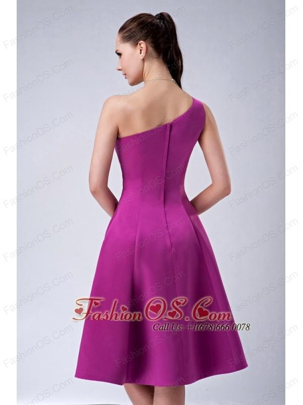 Custom Made Fuchsia A-line / Princess One Shoulder Bridesmaid Dress Satin Knee-length