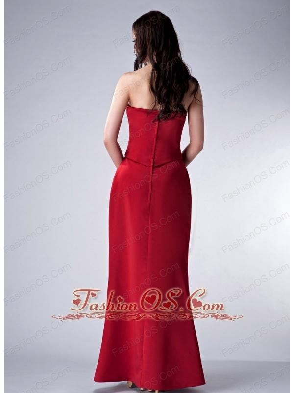 Custom Made Red Column Strapless Bridesmaid Dress Satin Beading Floor-length