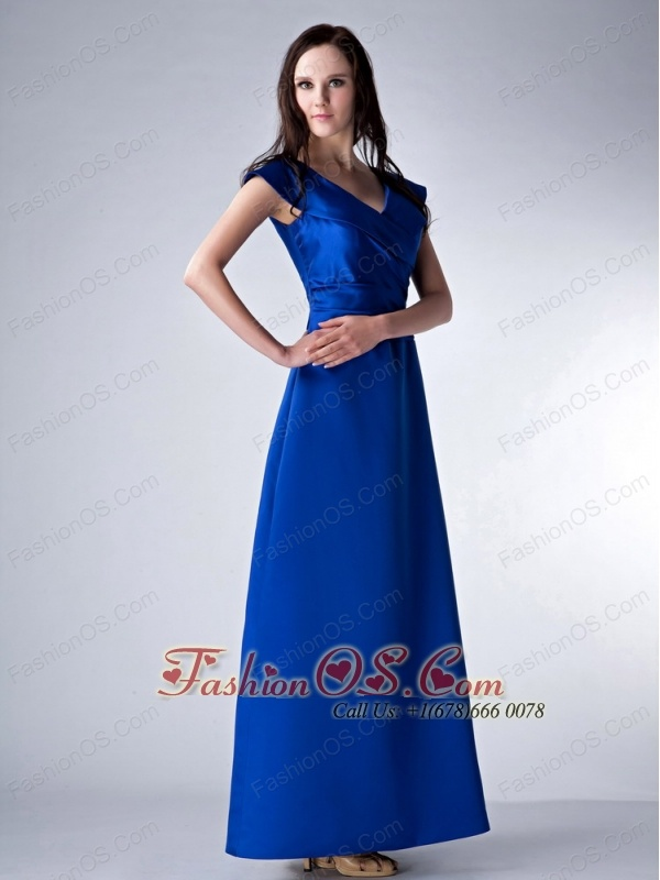 Custom Made Royal Blue Column V-neck Bridesmaid Dress Satin Ruch Ankle-length