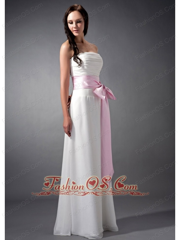 Custom Made White and Baby Pink Sash Empire Strapless Bridesmaid Dress Chiffon Ruch Floor-length