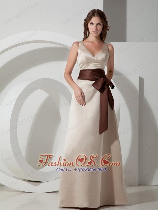 Customize A-line V-neck Bridesmaid Dress Satin Sash Floor-length