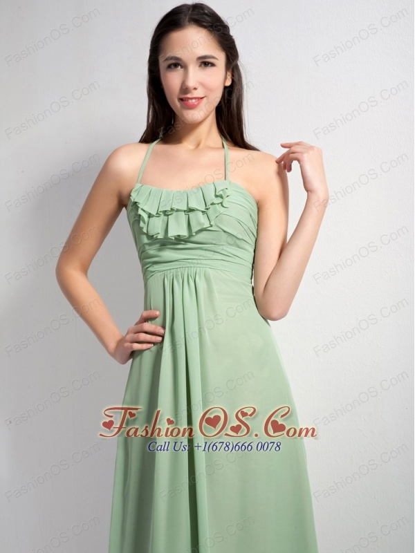 Customize Apple Green Empire Halter Ruch Bridesmaid Dress Brush Train Chiffon