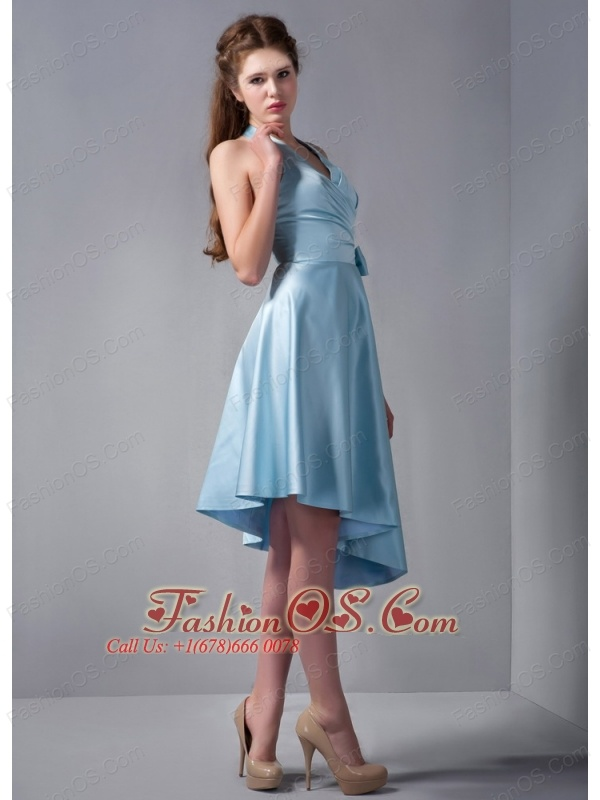 Customize Baby Blue A-line Halter Asymmetrical Ruch Bridesmaid Dress Elastic Woven Satin