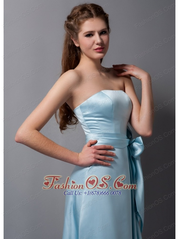 Customize Baby Blue Column Strapless Bridesmaid Dress Satin Bow Brush Train