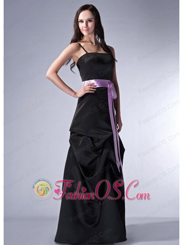 Customize Black Cloumn Spaghetti Straps Bridesmaid Dress Satin Sash Floor-length
