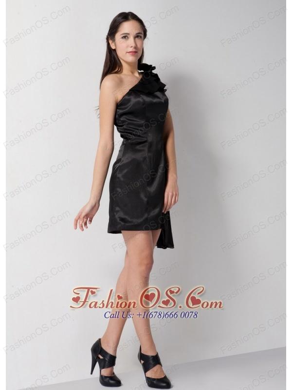 Customize Black Column Bridesmaid Dress One Shoulder Mini-length Taffeta