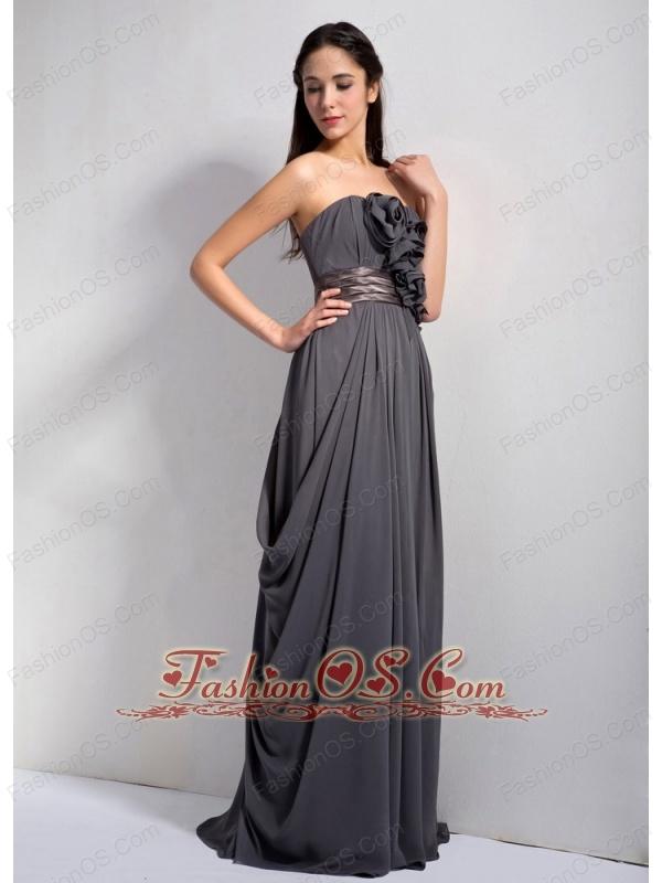 Customize Dark Grey Empire Strapless Hand Made Flowers Bridesmaid Dress Floor-length Chiffon