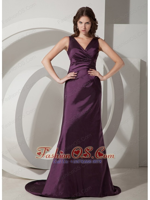 Customize Dark Purple Column / Sheath V-neck Bridesmaid Dress Taffeta Brush / Sweep Train