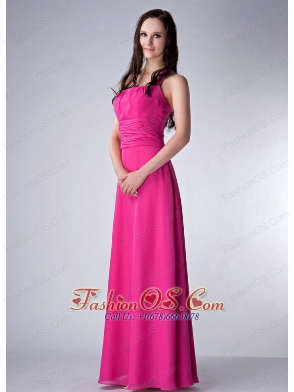 Customize Hot Pink Empire Square Bridesmaid Dress Chiffon Ruch Floor-length