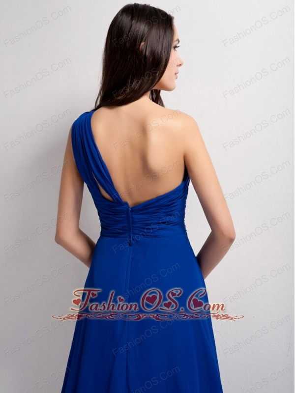 Customize Peacock Blue A-line One Shoulder Ruch Bridesmaid Dress Court Train Elastic Wove Satin and Chiffon