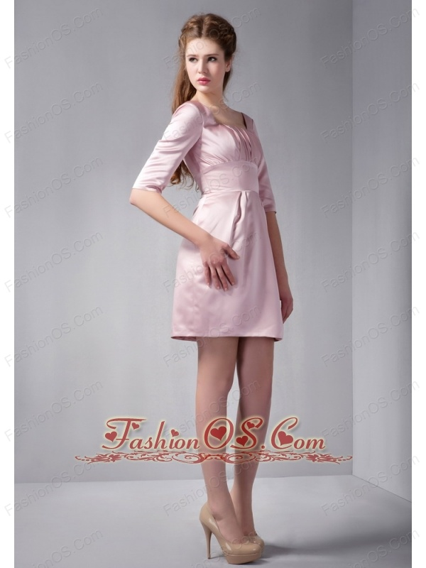 Customize Pink Column Square Ruch Bridesmaid Dress Mini-length Satin
