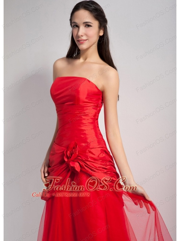 Customize Red A-line Strapless Hand Made Flowers Bridesmaid Dress Tea-length Taffeta and Tulle