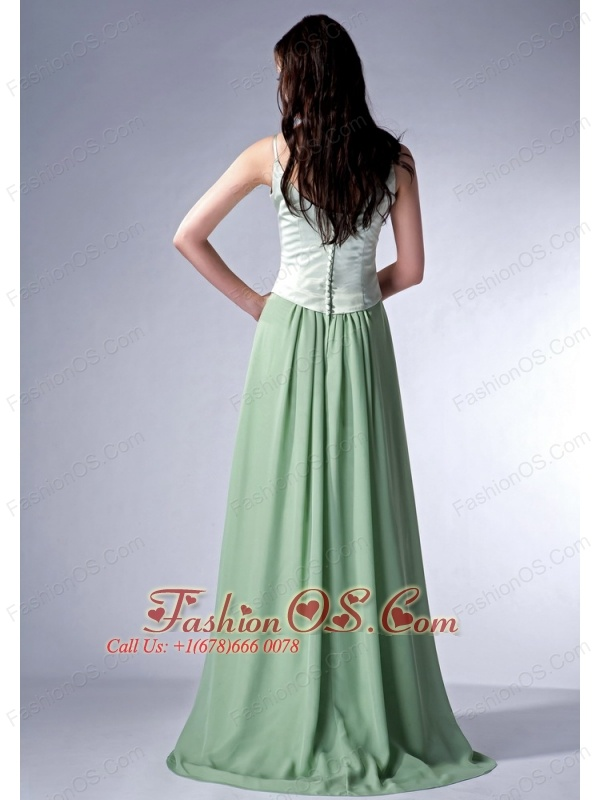 Discount Apple Green Cloumn Spaghetti Straps Bridesmaid Dress Chiffon Brush Train