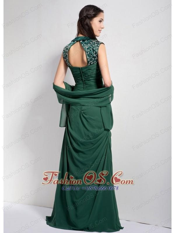 Elegant Dark Green Column Sweetheart Bridesmaid Dress Chiffon Ruch Brush Train